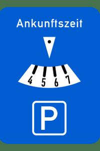 Achten Sie darauf, Ihre Ankunftszeit auf der Parkscheibe korrekt einzustellen