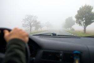 Sollte beim Autofahren im Herbst plötzlich Nebel auftreten, gilt es, das Tempo zu reduzieren.