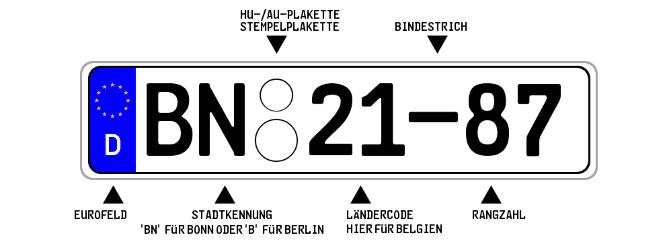 Ein Diplomatenkennzeichen für technische Mitarbeiter und das Verwaltungspersonal in einer Botschaft wird entweder in Bonn oder in Berlin ausgestellt.