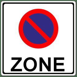 So sieht das Verkehrszeichen für die eingeschränkte Halteverbotszone aus.