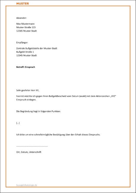einspruch gegen eine verkehrsordnungswidrigkeit vorlage - Einspruch Bugeldbescheid Muster