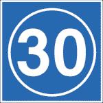 Isländisches Verkehrszeichen: Empfohlene Geschwindigkeit