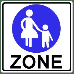Den Beginn einer Fußgängerzone kündigt dieses Schild an. Seine Bedeutung: Passanten haben Vorrang.