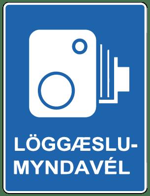 Zeichen für eine Geschwindigkeitskontrolle in Island