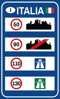 In Italien gilt auf der Landstraße eine maximale Geschwindigkeit von 90 km/h.