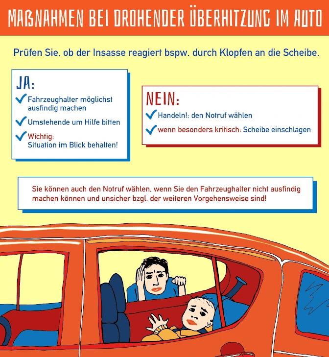 Sie sehen ein Kind im Auto bei Hitze? Scheibe einschlagen ist erlaubt, wenn die Situation kritisch scheint!