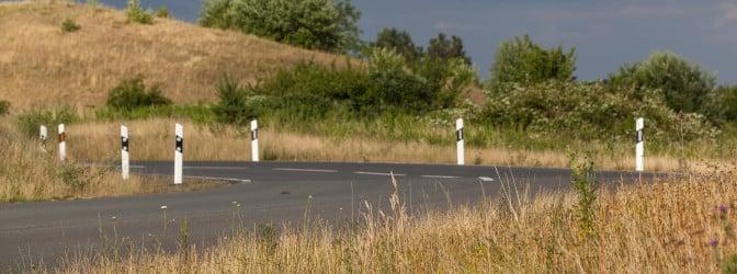 Leitpfosten zeigen den Verlauf der Straße an und fungieren so als Orientierungshilfe.