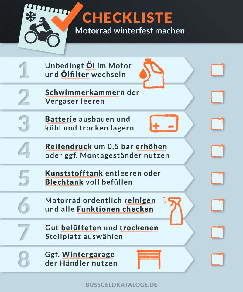 Checklist: Motorrad winterfest machen