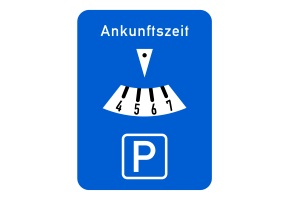 Bild 318 in der Anlage 3 zur StVO: Die Parkscheibe muss die Farbe Blau haben.