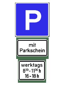 In dieser Parkzone dürfen Sie außerhalb der genannten Zeiten kostenlos parken. Innerhalb der Zeiten ist ein Parkschein zu ziehen.