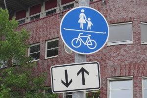 Ein solches Zeichen signalisiert die Nutzungspflicht für einen Radweg.