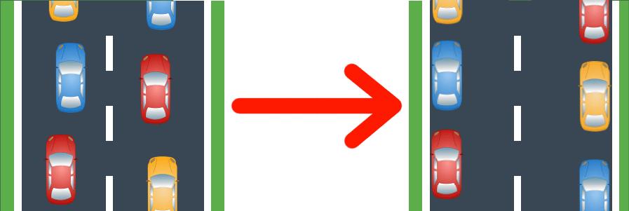 So wird eine Rettungsgasse bei zwei Spuren gebildet.