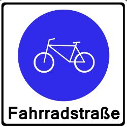 So sieht das Verkehrsschild für die Fahrradstraße aus