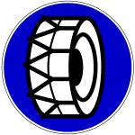 Verkehrszeichen 268 Schneeketten vorgeschrieben