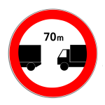 Verkehrszeichen 273 Verbot des Unterschreitens des angegebenen Mindestabstands