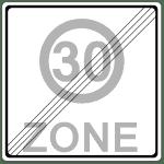 Verkehrszeichen 274-2 Ende einer Tempo 30-Zone