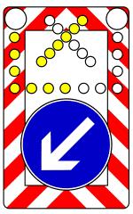 Verkehrszeichen 616 Fahrbare Absperrtafel mit Blinkpfeil